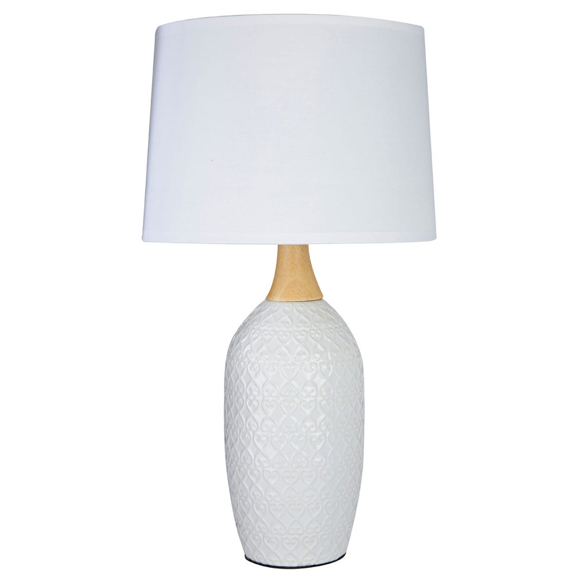 Premier Housewares Willow Table Lamp in White Ceramic with White Fabric Shade
