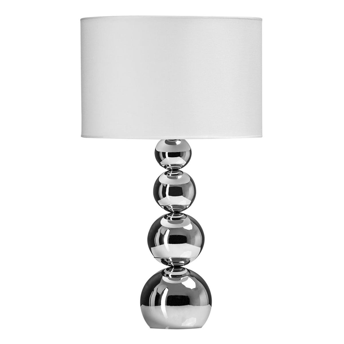 Premier Housewares Cameo Touch Table Lamp with Chrome Iron Base & White Fabric Shade