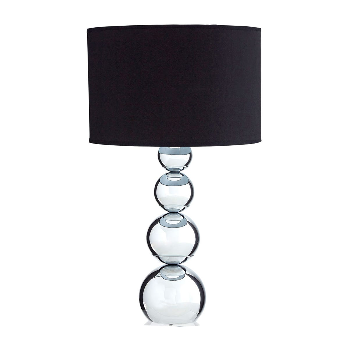 Premier Housewares Cameo Touch Table Lamp with Chrome Iron Base & Black Fabric Shade