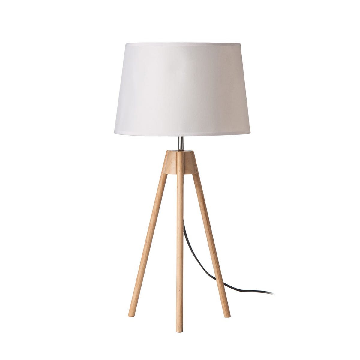 Premier Housewares Tripod Table Lamp with Light Wood Base & White Shade