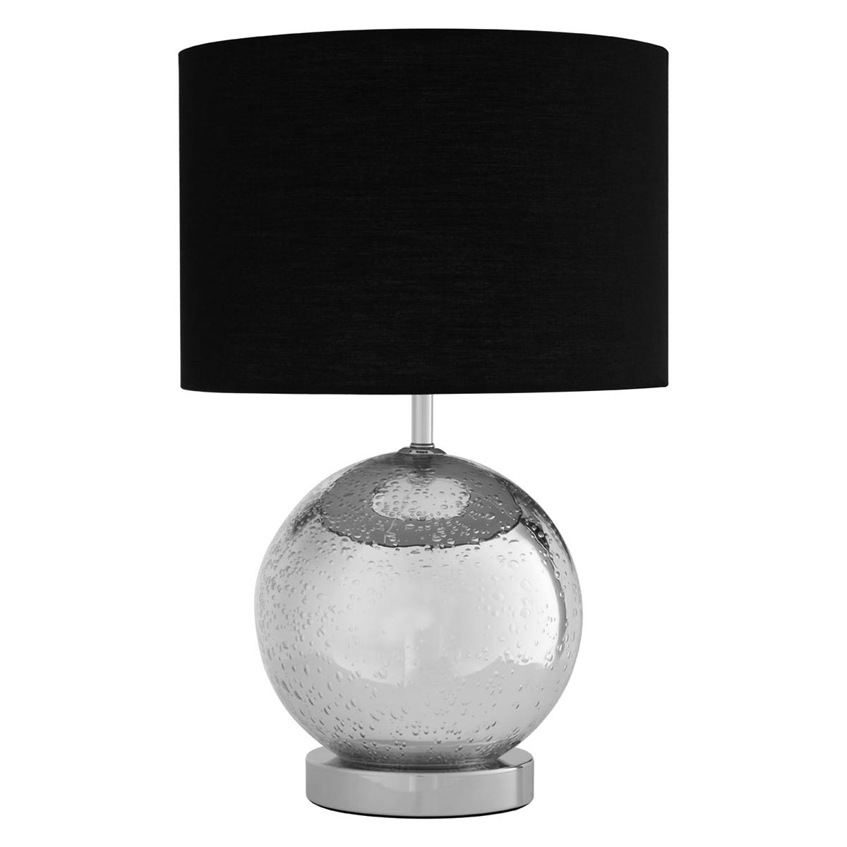 Premier Housewares Naomi Table Lamp with Chrome Glass Base & Black Fabric Shade