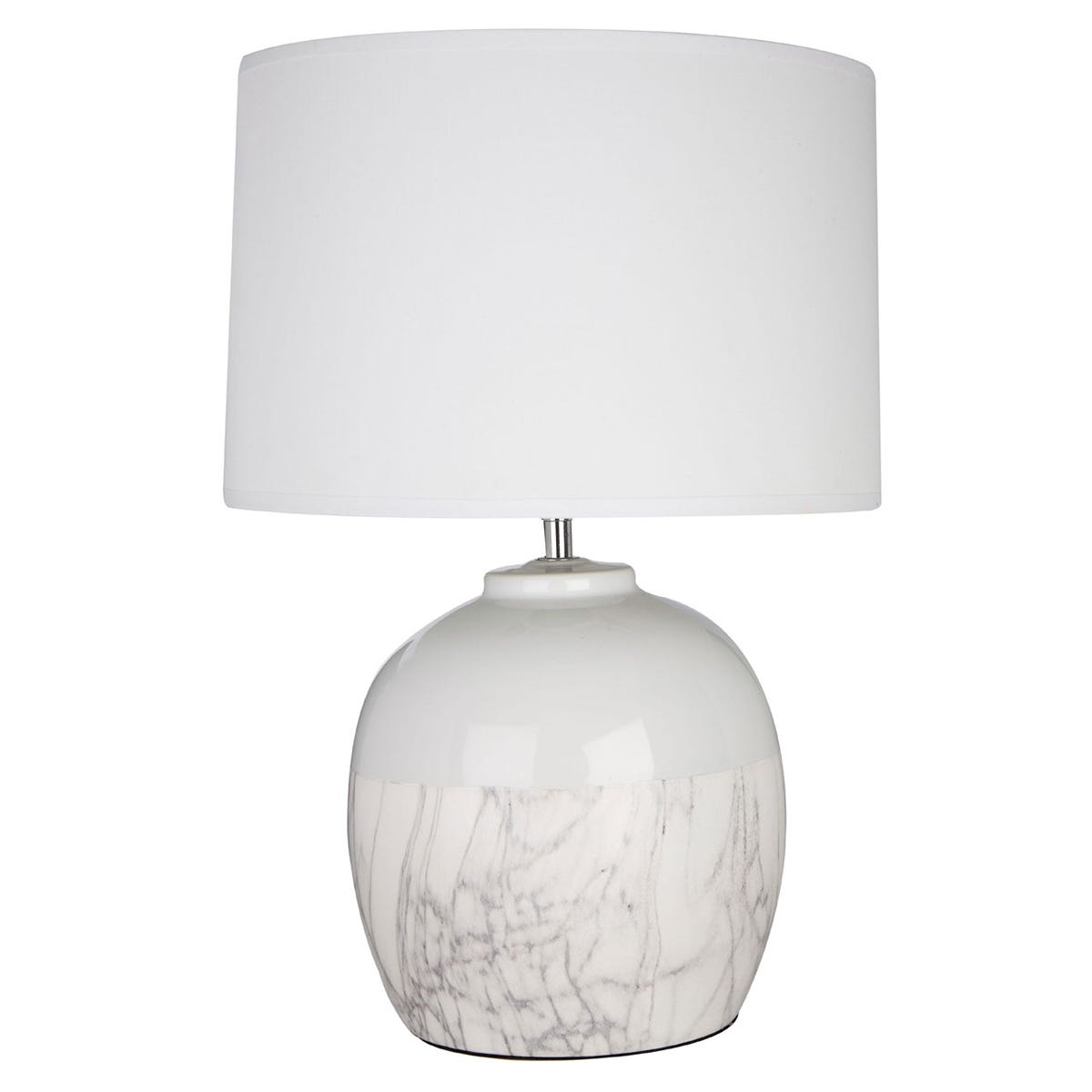 Premier Housewares Whitley Table Lamp in White Ceramic with White Fabric Shade