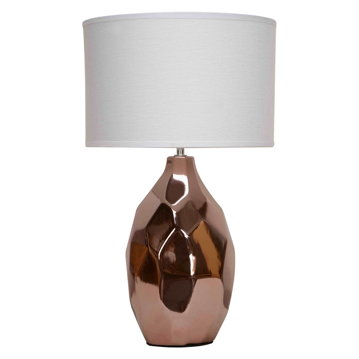 Premier Housewares West Table Lamp in Copper Ceramic Base with Ivory Fabric Shade
