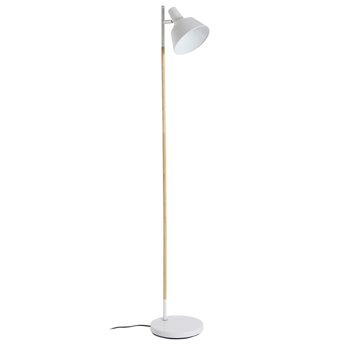 Premier Housewares Bryant Floor Lamp - Wood/Metal White
