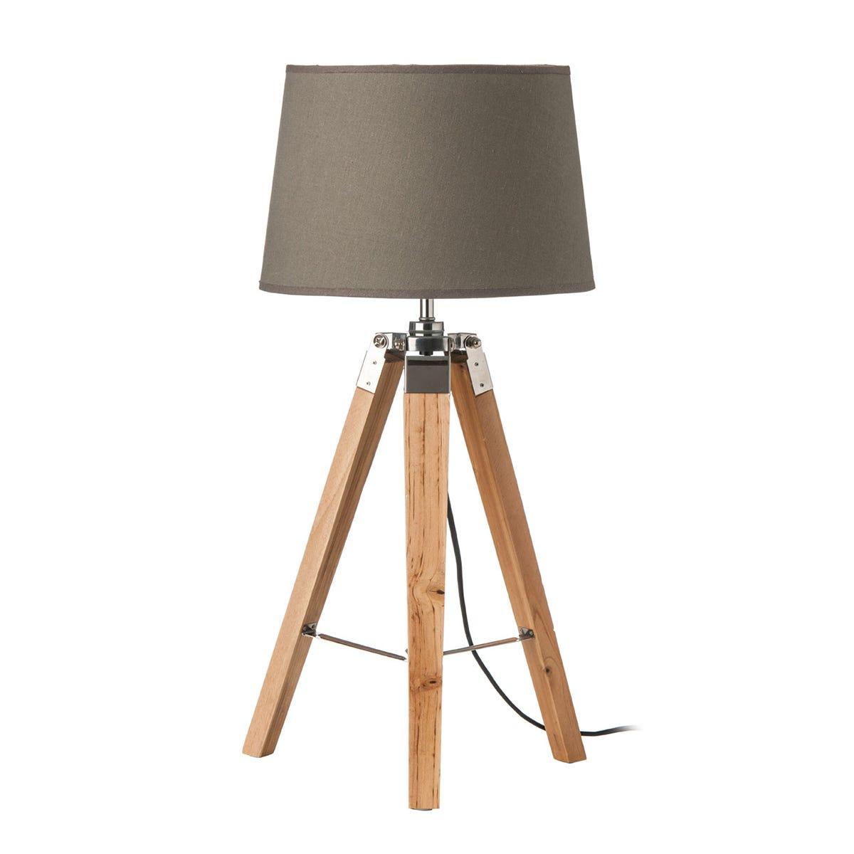 Premier Housewares Tripod Table Lamp with Grey Shade & Light Wood Base
