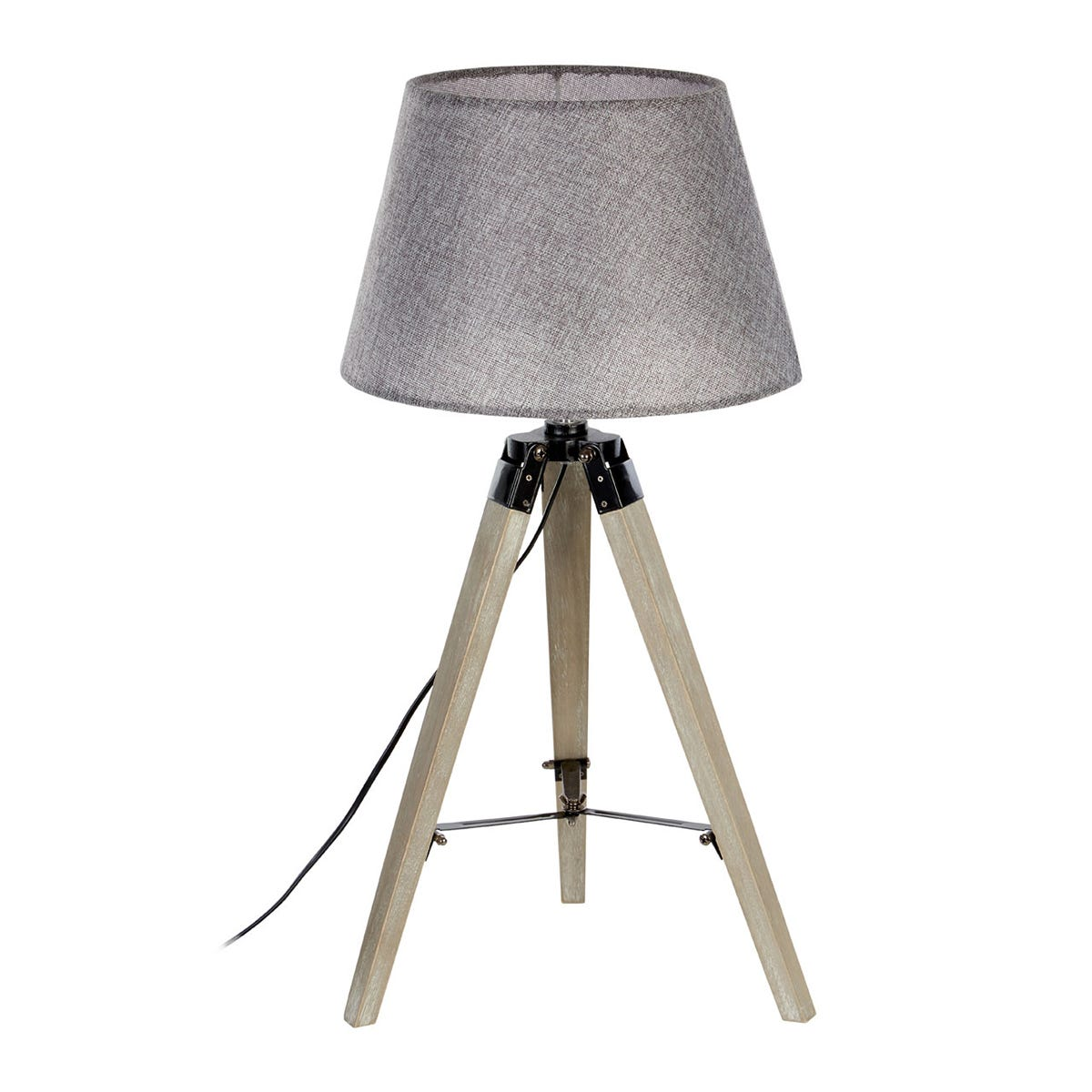 Premier Housewares Harper Table Lamp in Grey Wood Tripod with Grey Shade