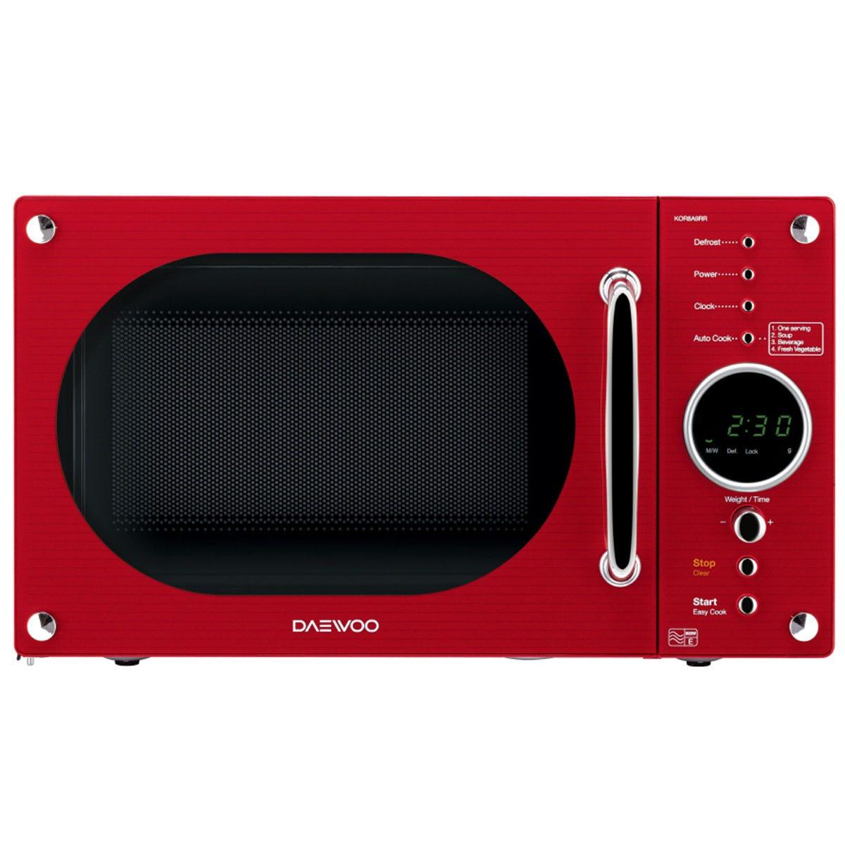 Daewoo KOR8A9RDR 23L Retro Design 800W Manual Microwave - Red