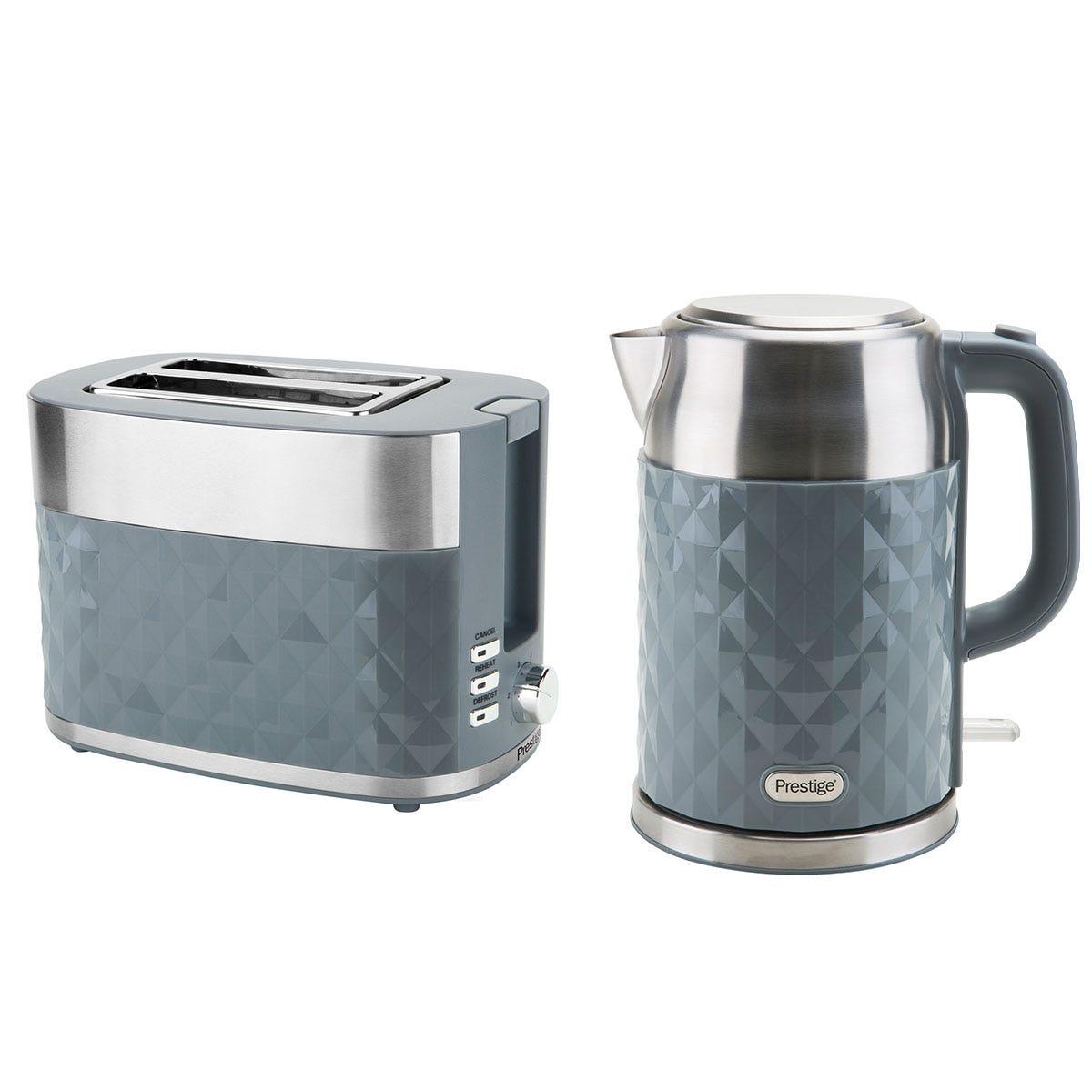 Prestige 66761 Prism 1.7L Kettle and 2-Slice Toaster Set - Grey