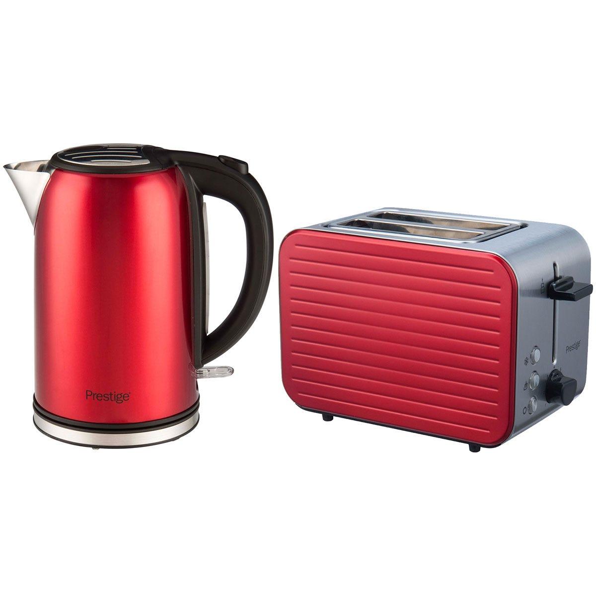 Prestige 61227 Pearlescent 1.7L Kettle and 2-Slice Toaster Set - Red