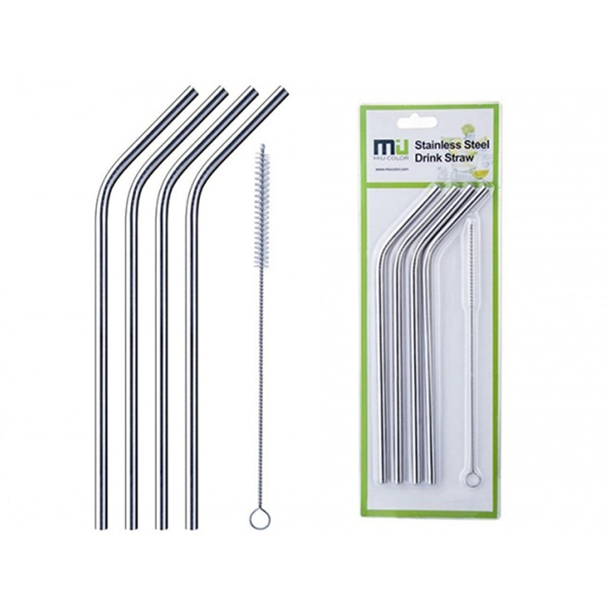 4 Pack Haven Reusable Stainless Steel Straws With Brush