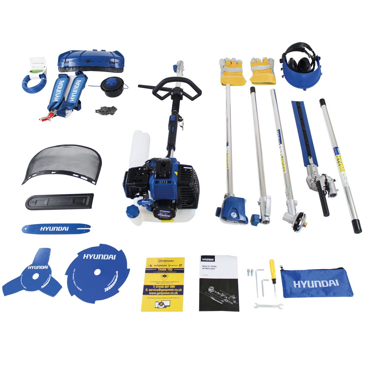 Hyundai HYMT5200 52cc Petrol Garden Multi Function Tool (Hedge Chainsaw Brushcutter Grass Trimmer and Extension Shaft)