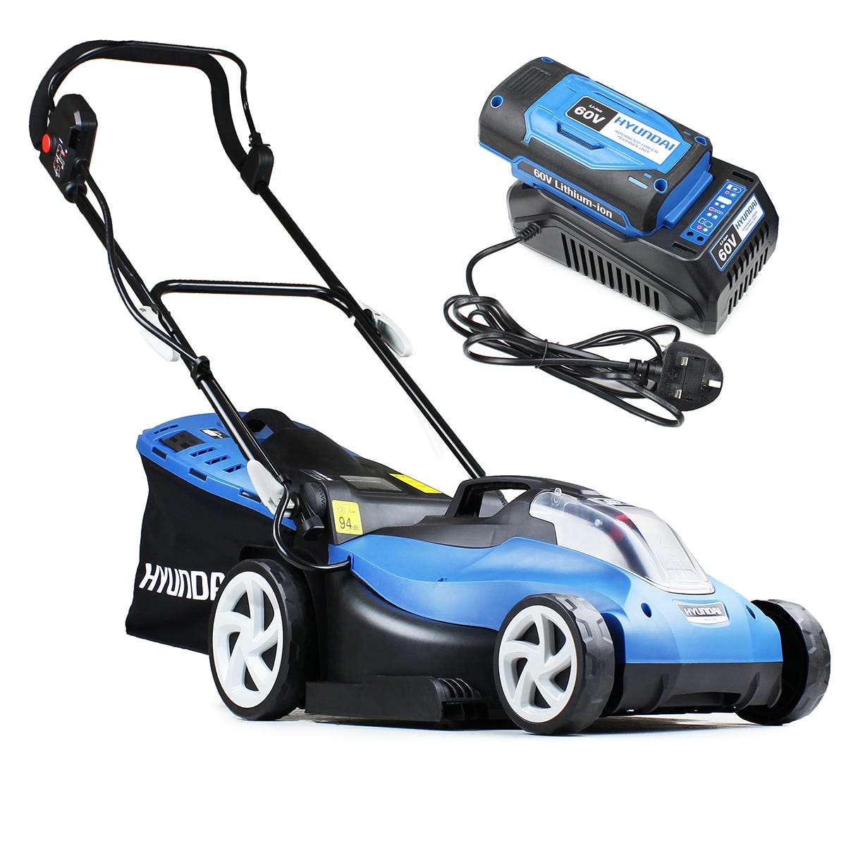 Image of Hyundai HYM60Li420 Cordless Powered Lawnmower 42cm Cutting Width with 60V Lithium-ion Battery and Charger