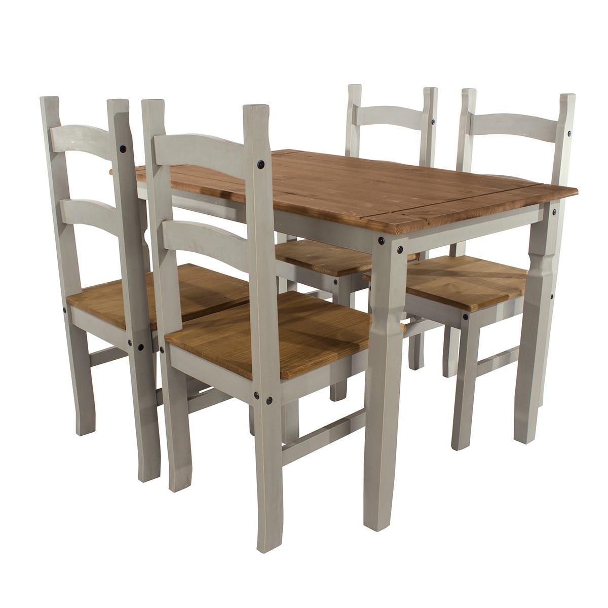 Halea Large Rectangular Dining Table & 4 Chairs - Grey