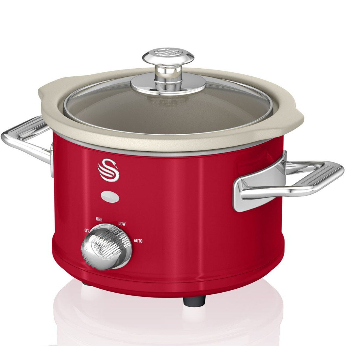 Swan SF17011RN 1.5L Retro Slow Cooker - Red