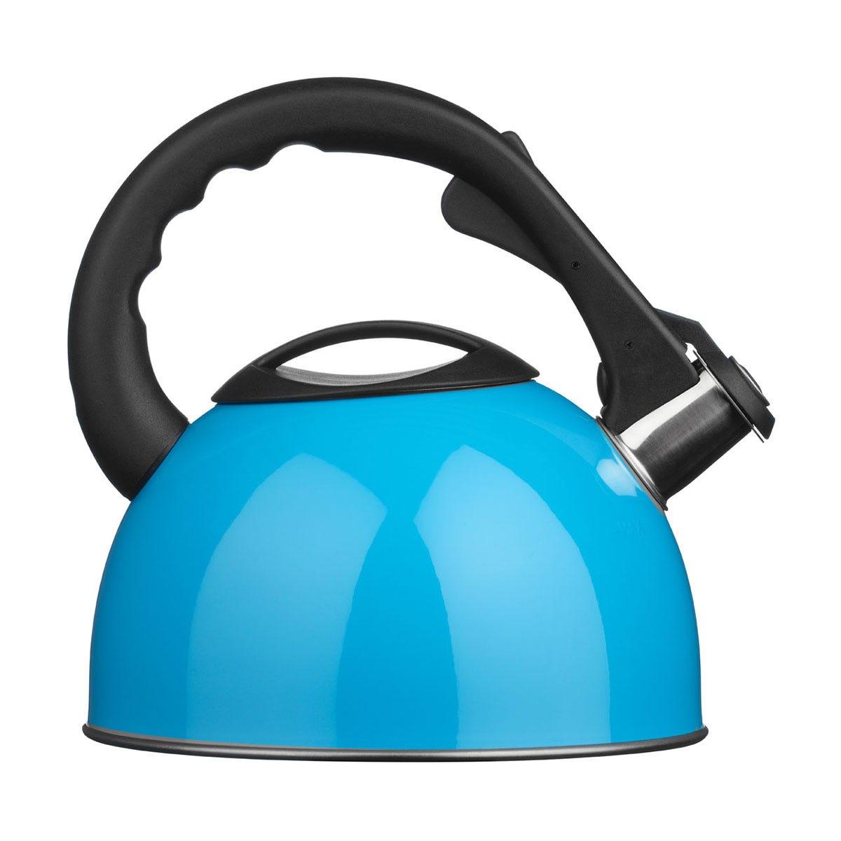 Premier Housewares 2.5L Stainless Steel Whistling Kettle - Blue