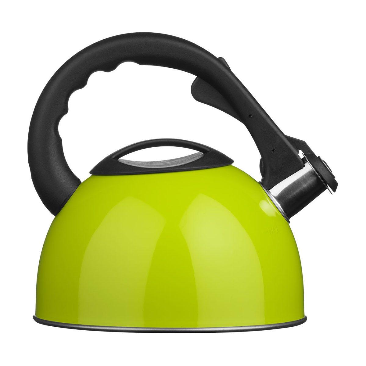 Premier Housewares 2.5L Stainless Steel Whistling Kettle - Lime Green