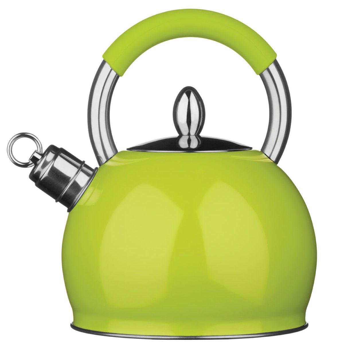 Premier Housewares 2.4L Stainless Steel Whistling Kettle - Lime Green