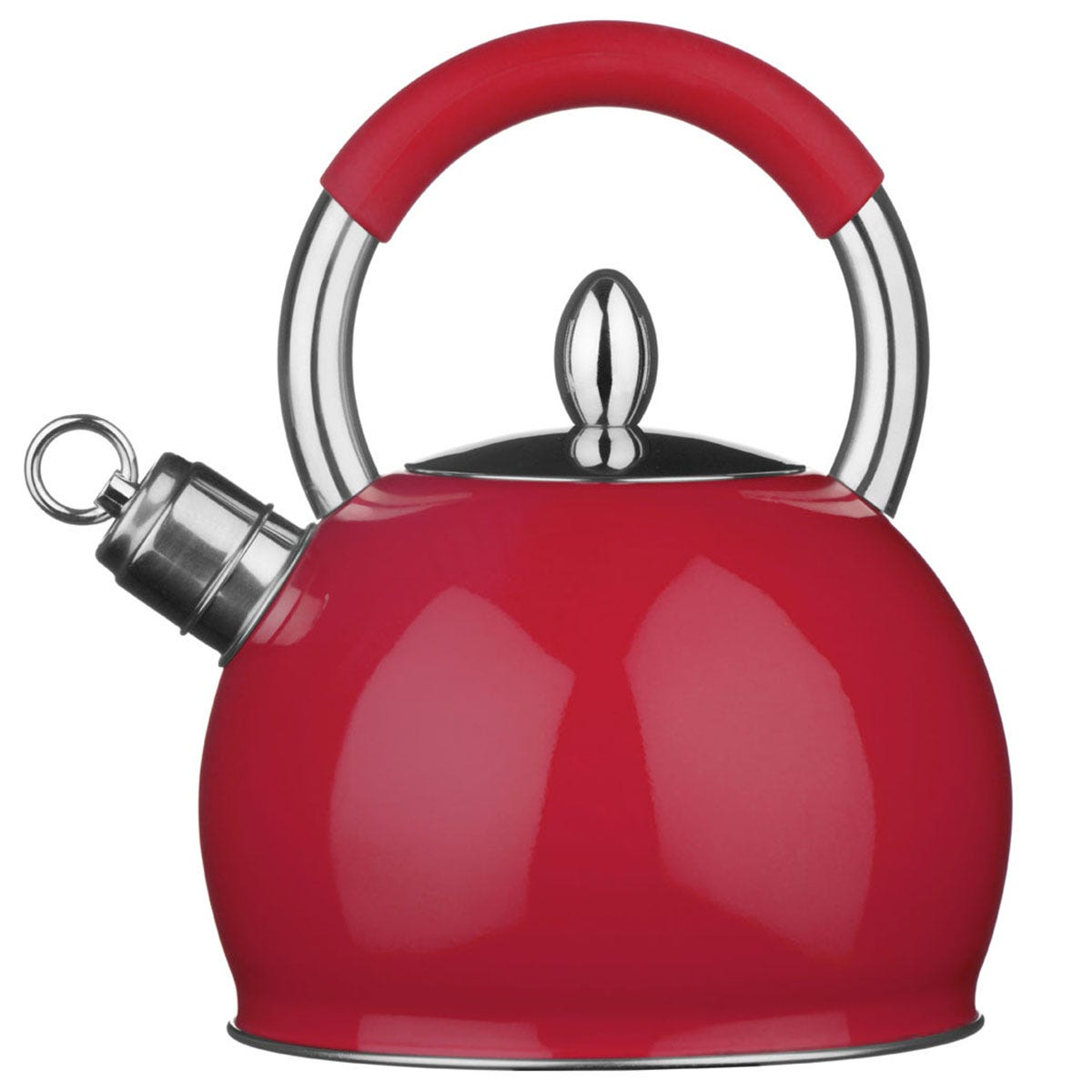 Premier Housewares 2.4L Stainless Steel Whistling Kettle - Red