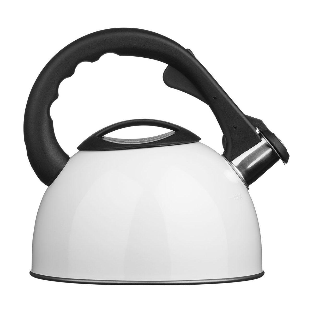 Premier Housewares 2.5L Stainless Steel Whistling Kettle - White