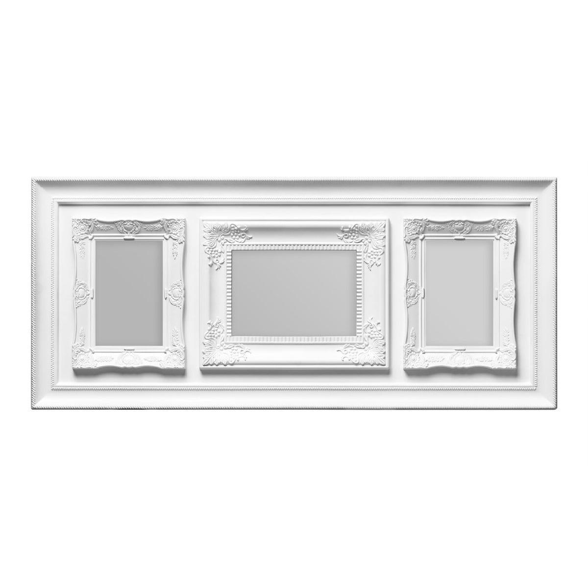 """Premier Housewares Multi Frame 3 Photo White Plastic Vintage Style Frame - 1 of 5 x 7"""", 2 of 4 x 6"""""""