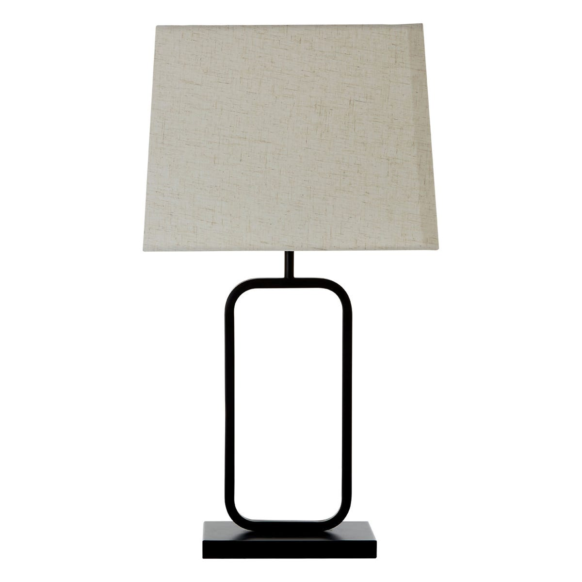 Premier Housewares Lucas Table Lamp in Black Metal with Fabric Shade
