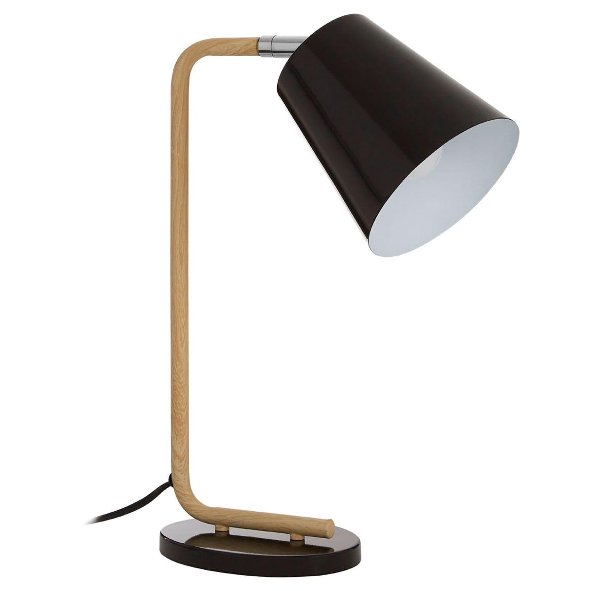 Premier Housewares Bruin Table Lamp in Wood/Metal - Black