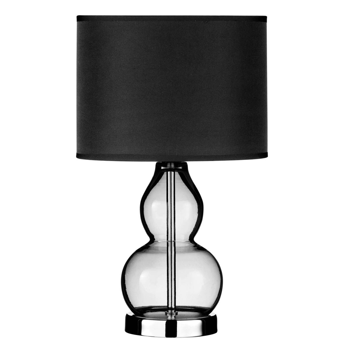 Premier Housewares Table Lamp in Smoke Grey Glass with Chrome Base & Black Shade