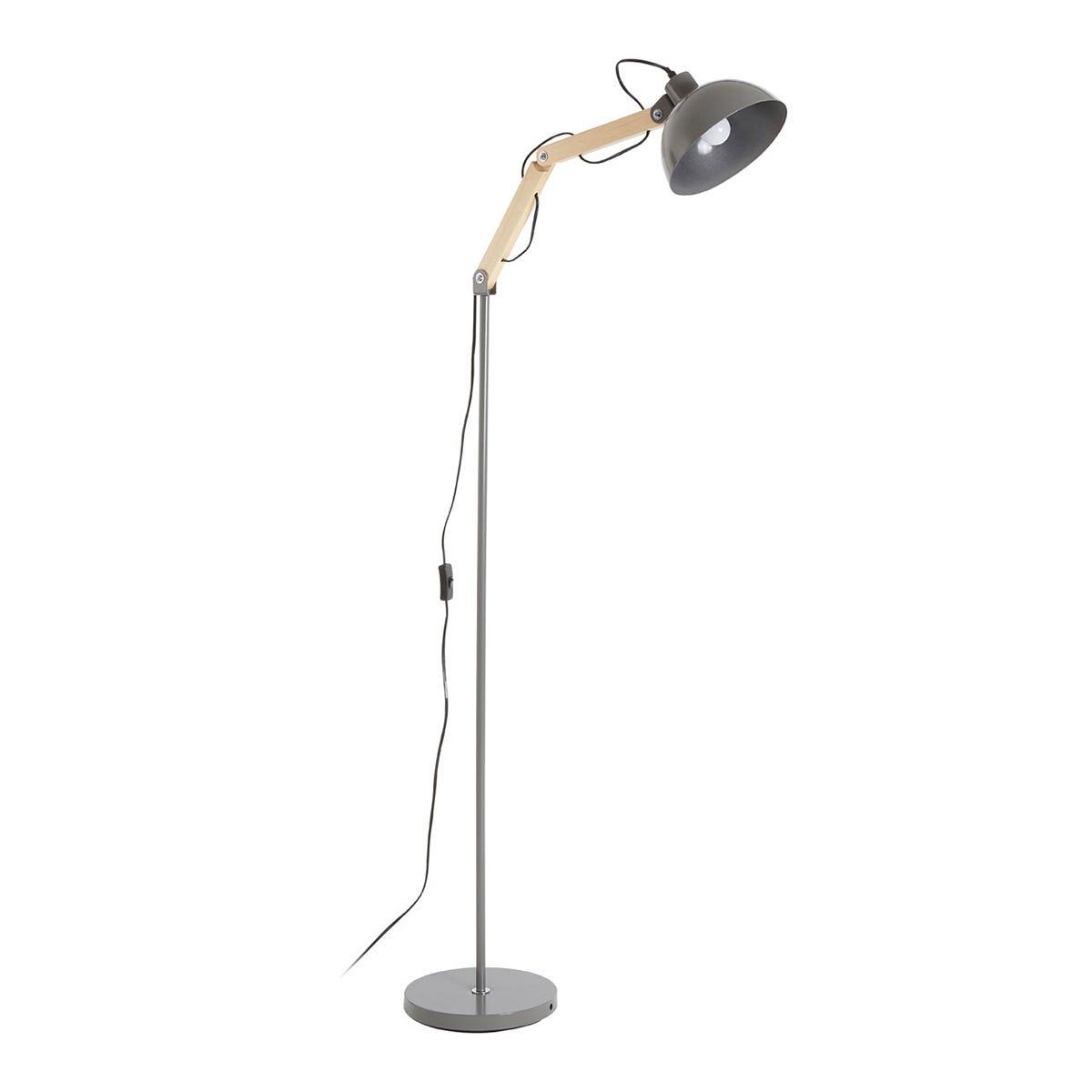 Premier Housewares Blair Floor Lamp in Wood & Metal - Grey