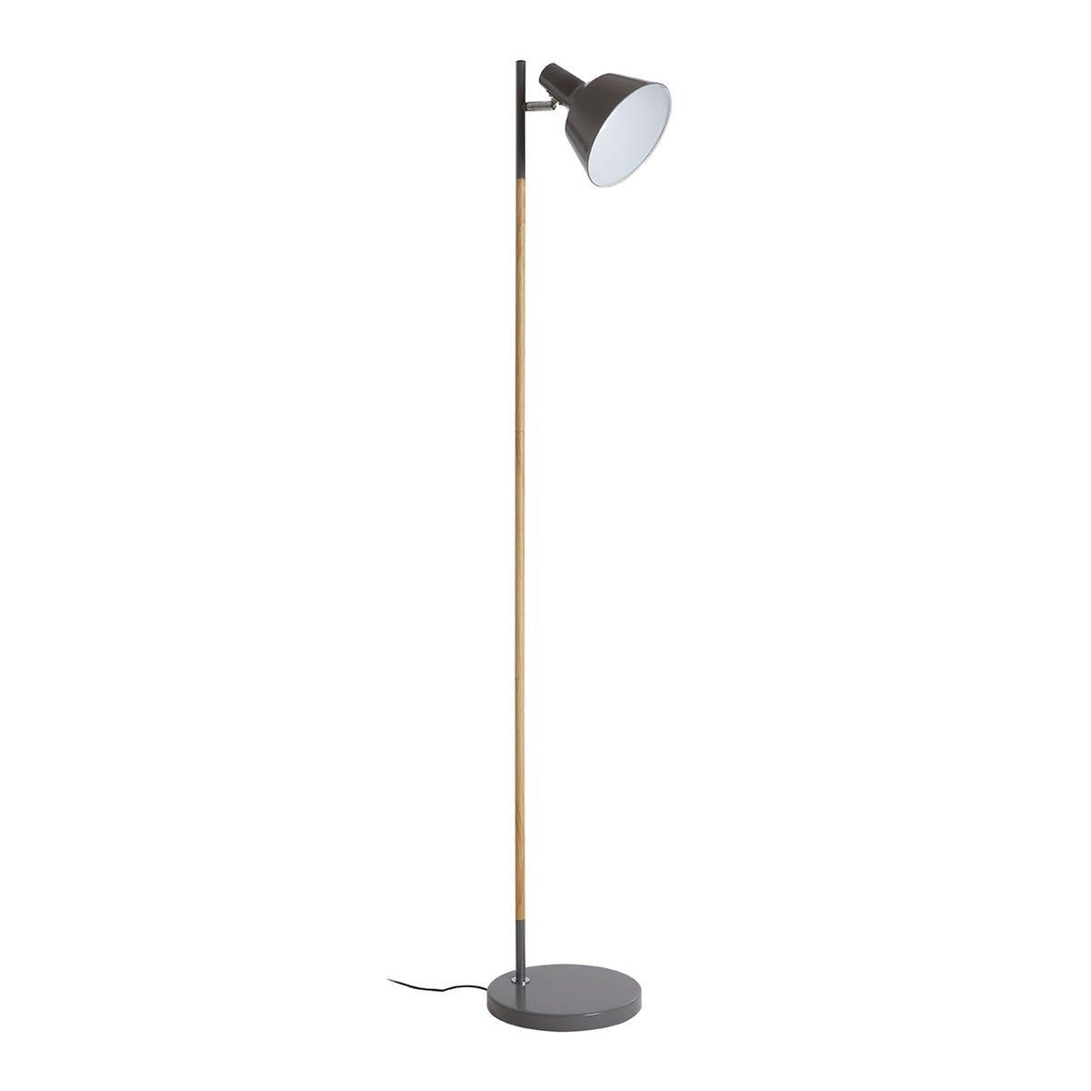 Premier Housewares Bryant Floor Lamp In Wood & Metal - Grey