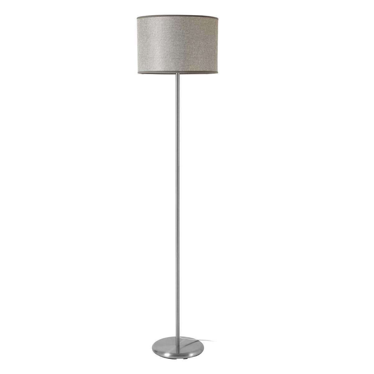 Premier Housewares Forma Floor Lamp in Chrome Effect with Grey Waffle Effect Shade