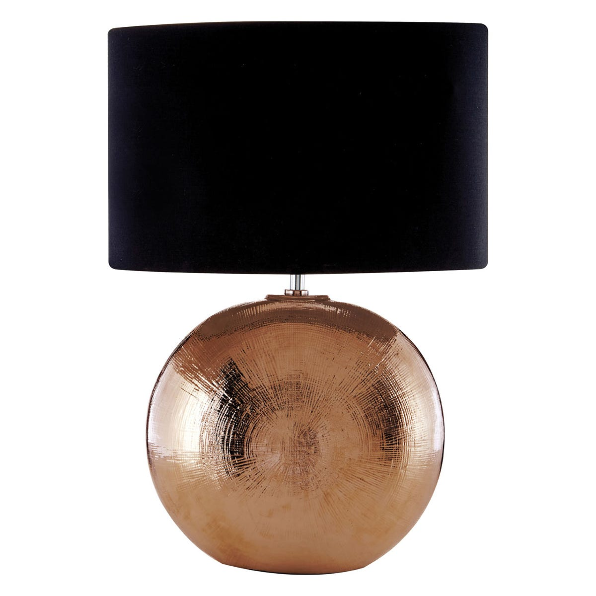 Premier Housewares Jarvis Table Lamp in Ceramic with Scratched Copper & Black Shade