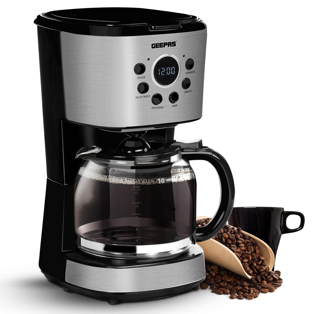 Geepas 1.5L Filter Coffee Machine - Black & Silver