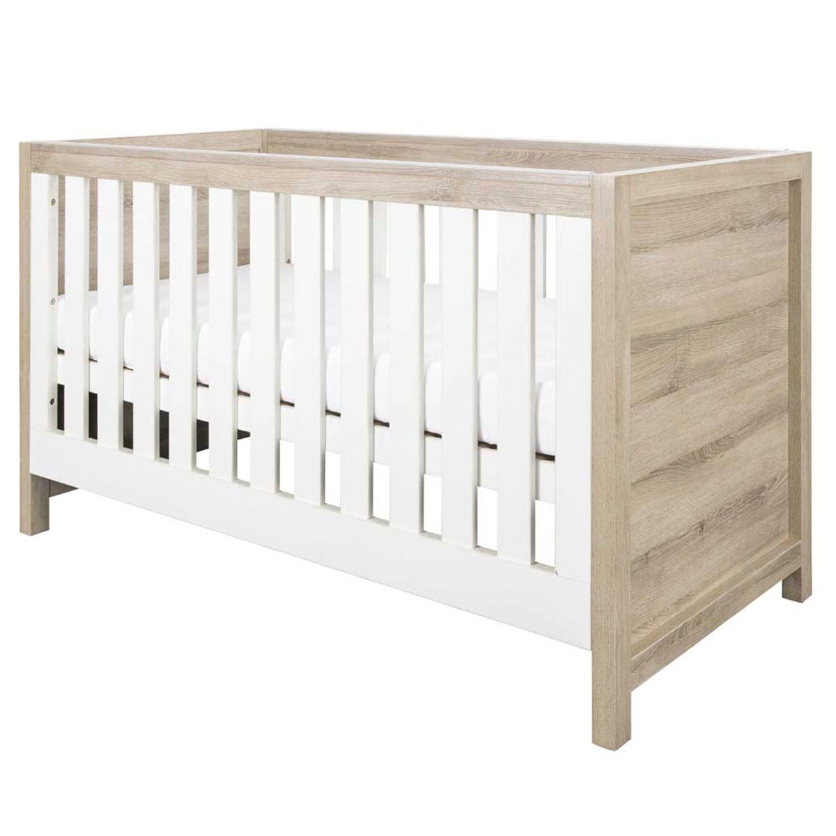 Modena Baby Cot Bed - White Oak