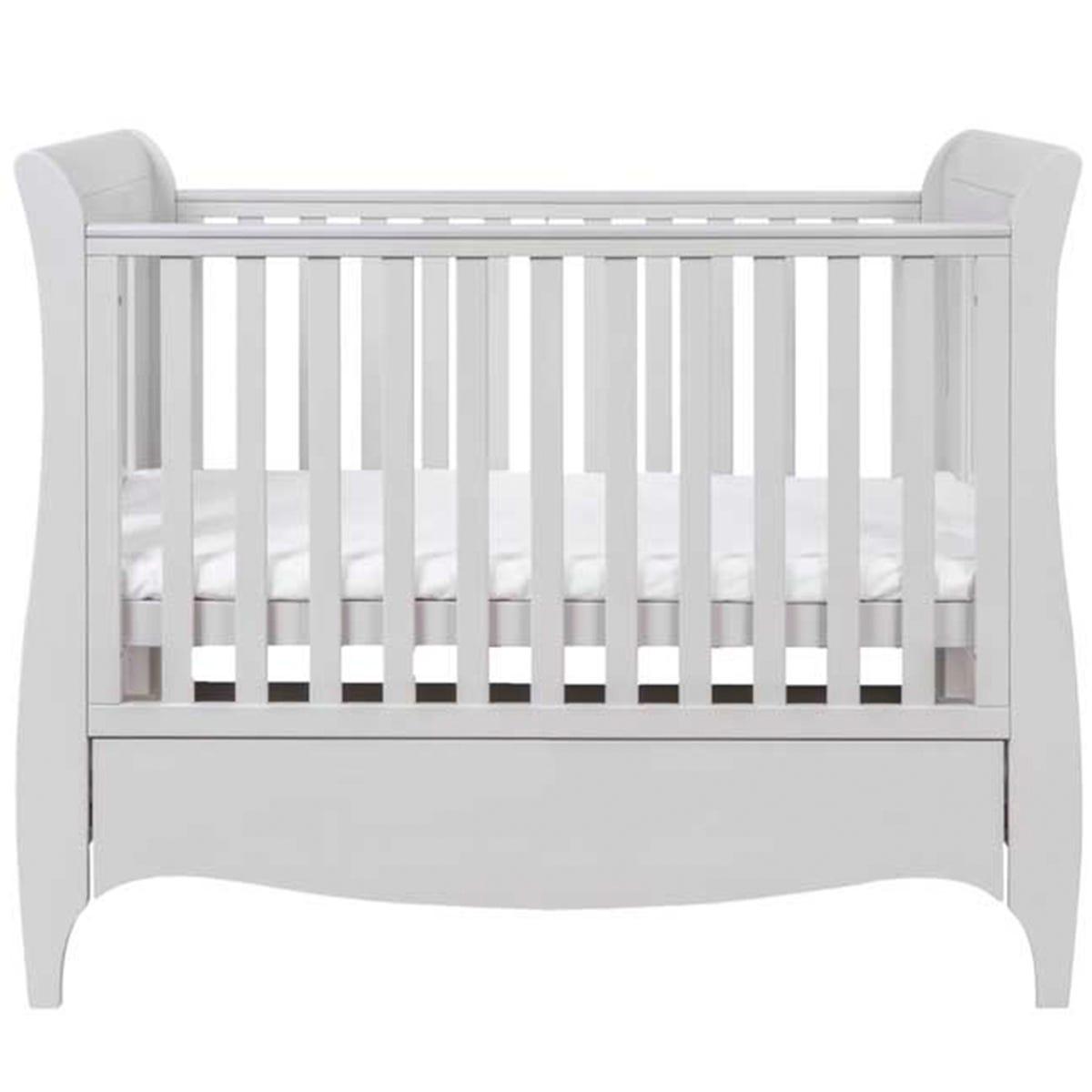 Tutti Bambini Roma Mini Sleigh Cot Bed with Drawer - Dove Grey