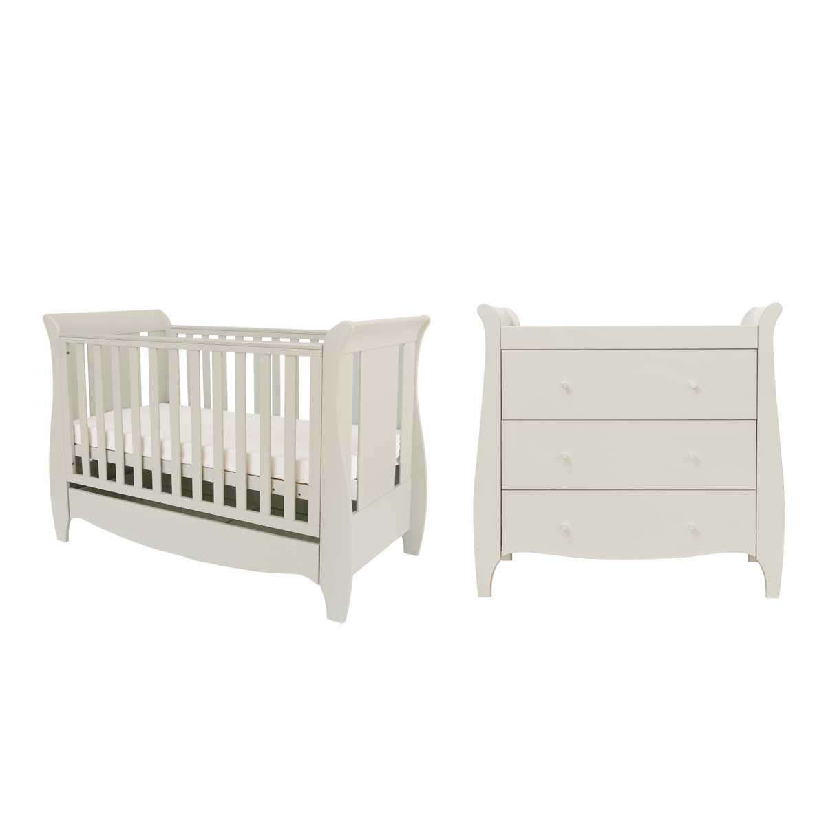 Tutti Bambini Roma Mini 2 Piece Cot Bed and Chest Changer Room Set - Linen