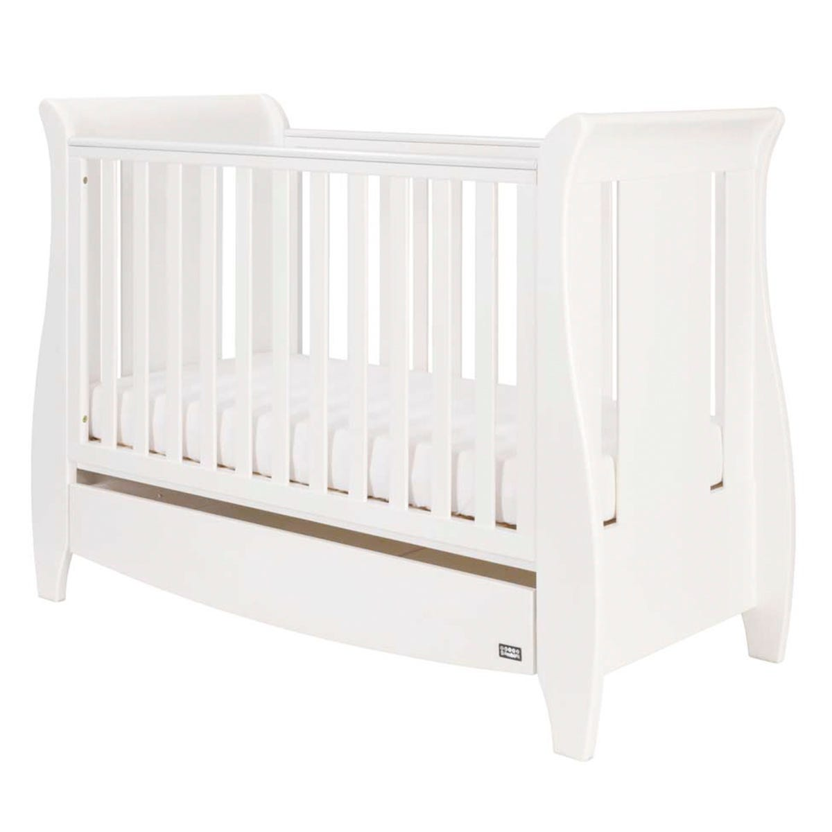 Tutti Bambini Katie Mini Sleigh Cot Bed with Drawer - White
