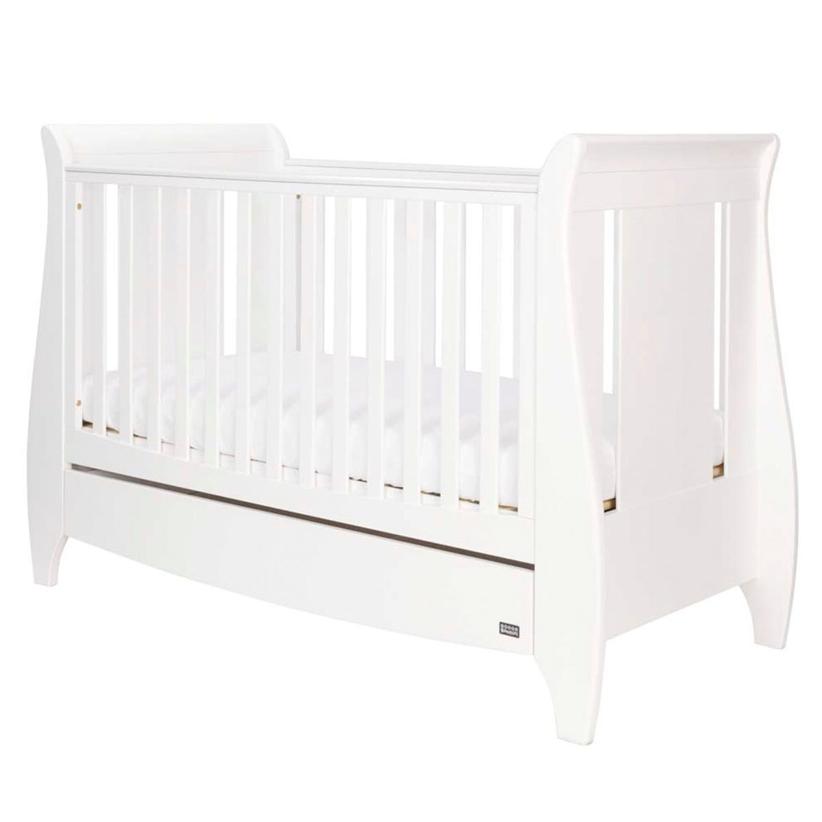 Tutti Bambini Lucas Sleigh 3-in-1 Cot Bed with Drawer - White