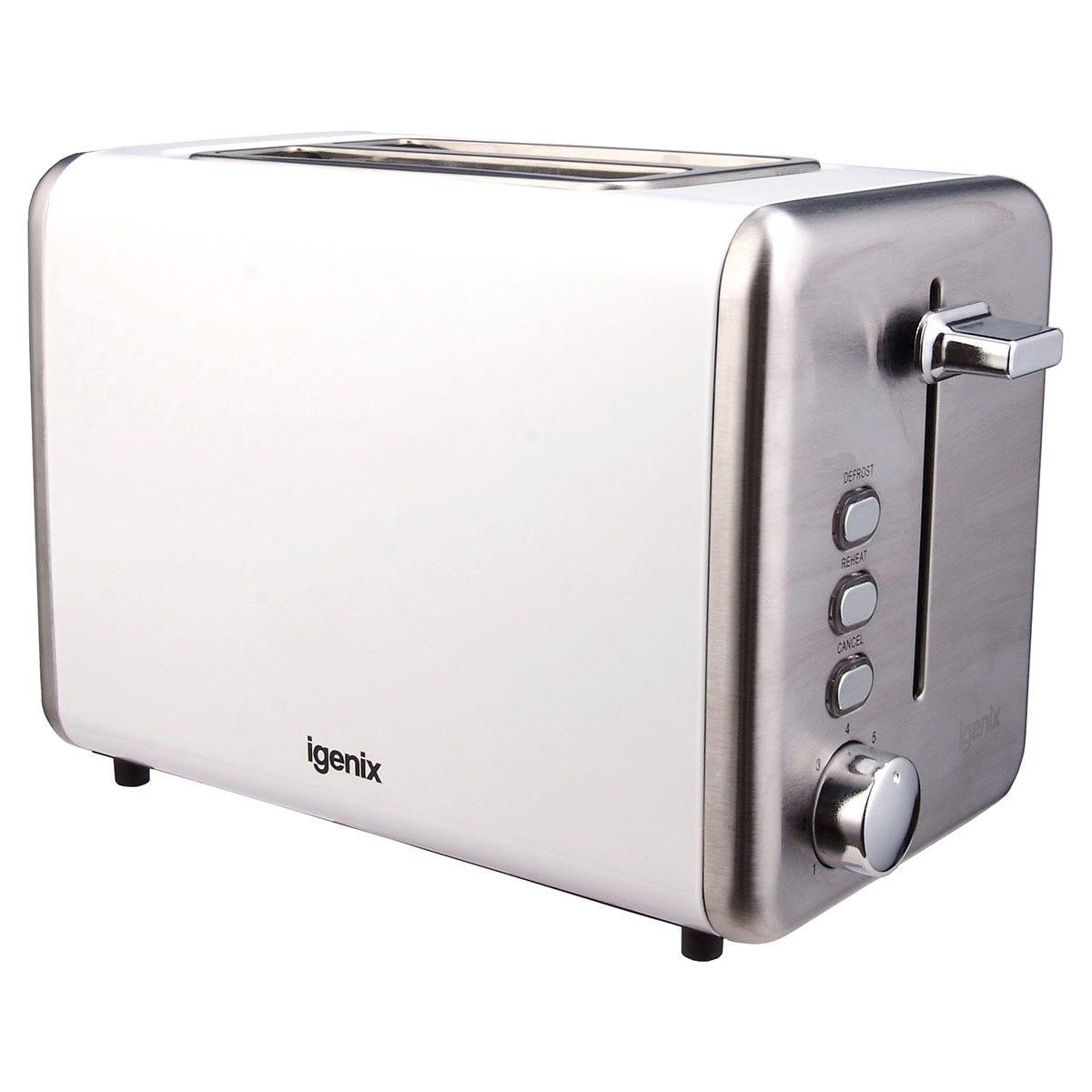 Igenix IG3000W 2-Slice Deep Slot 850W Stainless Steel Toaster - White