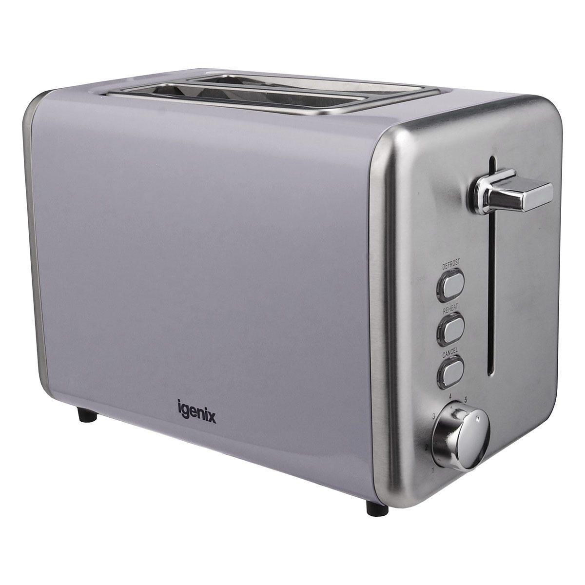 Igenix IG3000G 2-Slice Deep Slot 850W Stainless Steel Toaster - Grey