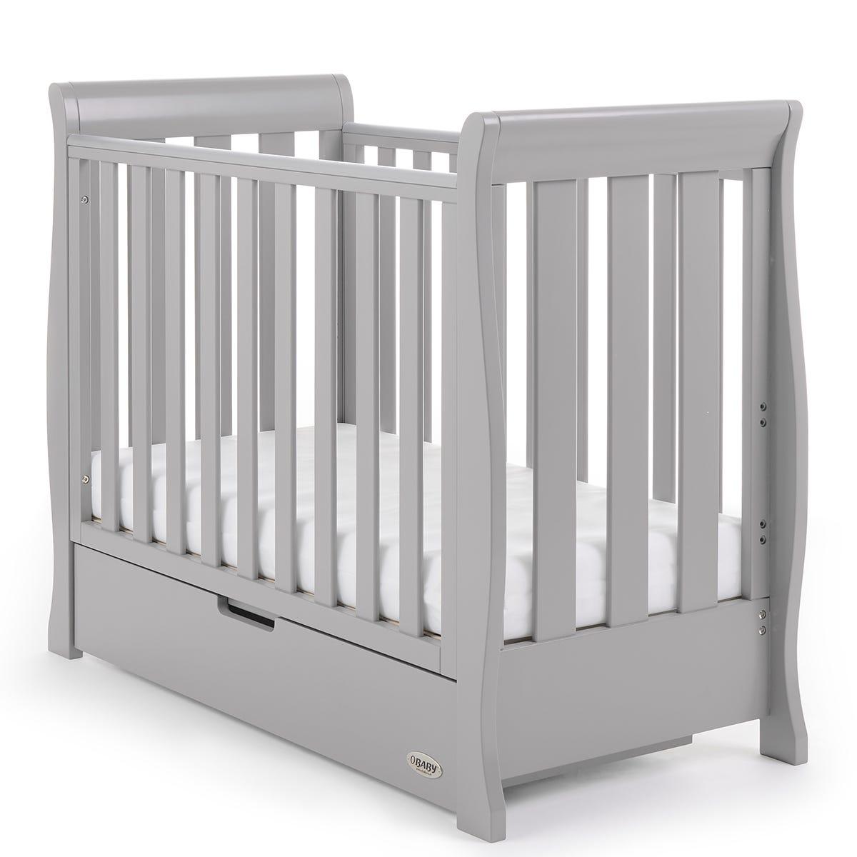 Obaby Stamford Space Saver Sleigh Cot - Warm Grey
