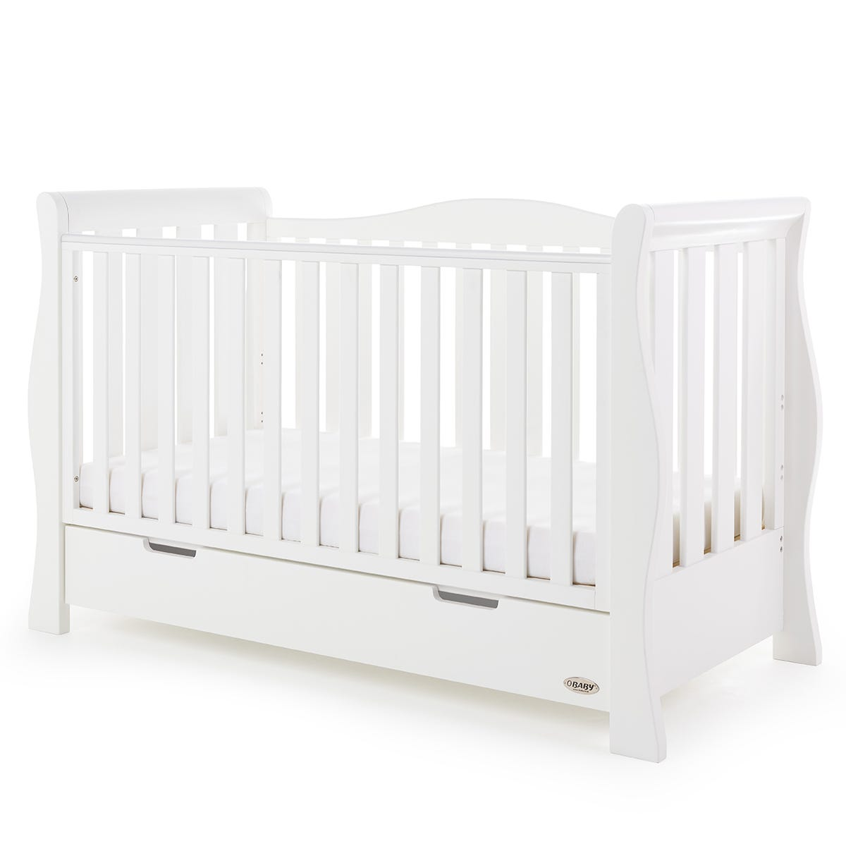 Obaby Stamford Luxe Sleigh Cot Bed White