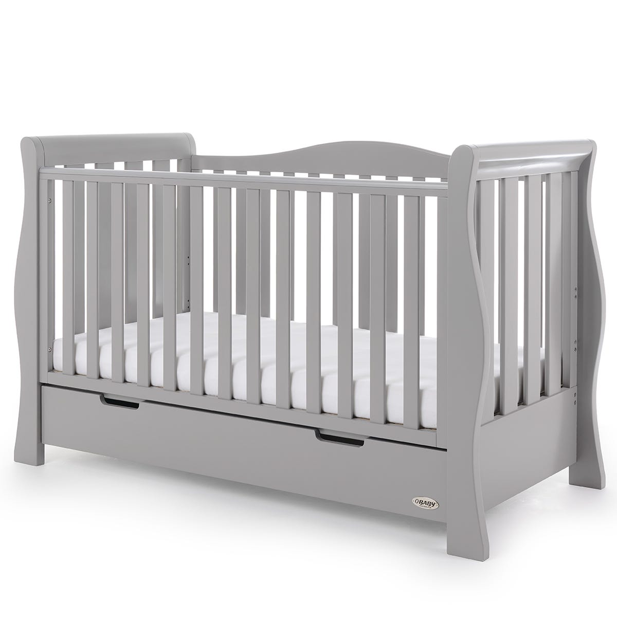 Obaby Stamford Luxe Sleigh Cot Bed Warm Grey