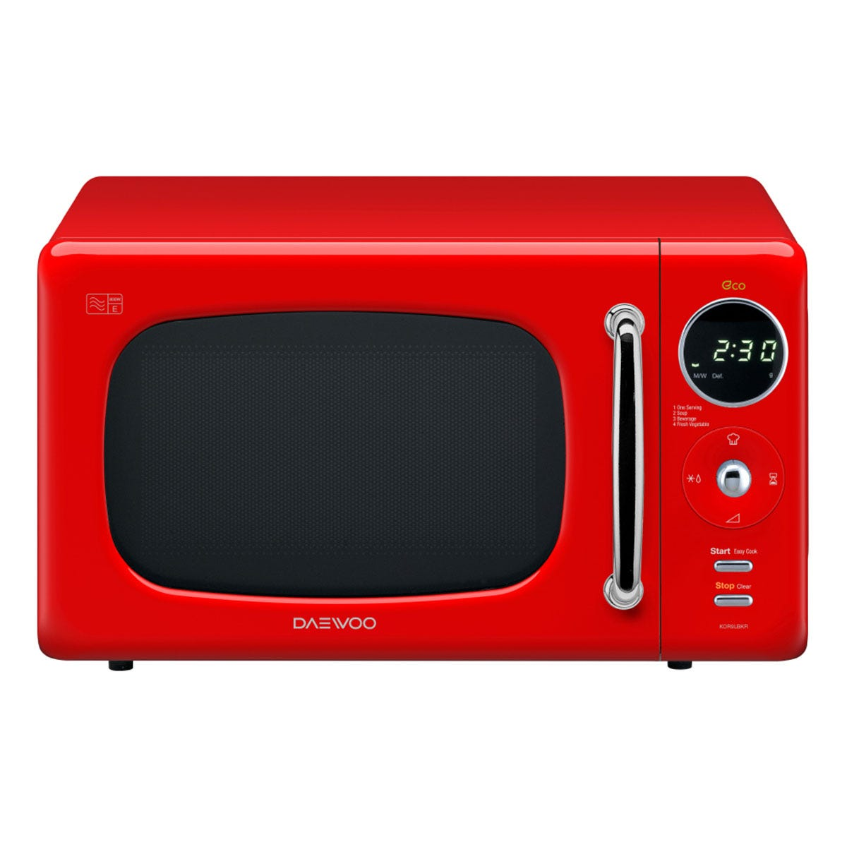 Daewoo KOR9LBKRR 800W Retro Touch Control Manual 20L Microwave - Red