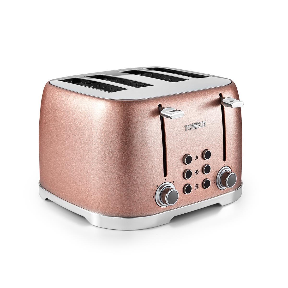 Tower T20030BP Glitz 4-Slice Toaster - Blush Pink