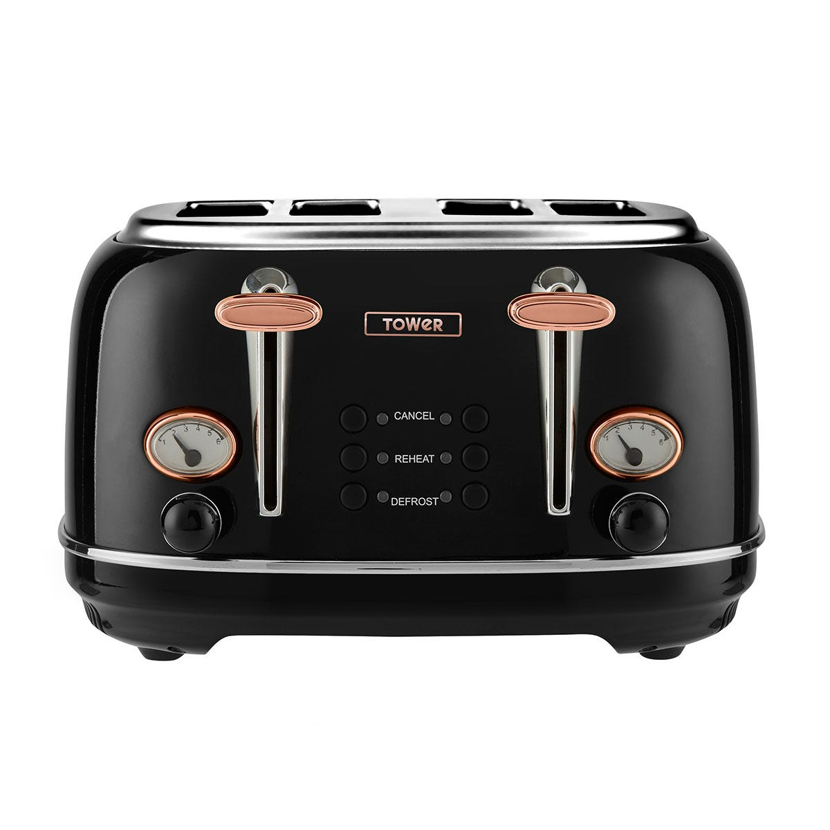 Tower T20017 1630W 4-Slice Stainless Steel Toaster - Black