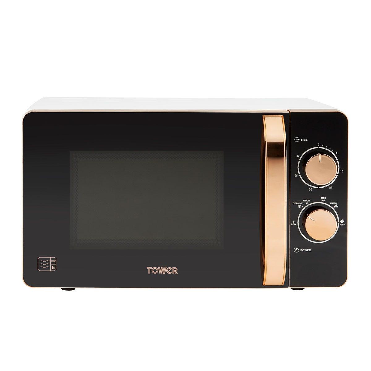 Tower T24020W 800W Manual 20L Microwave - White/Black/Pink