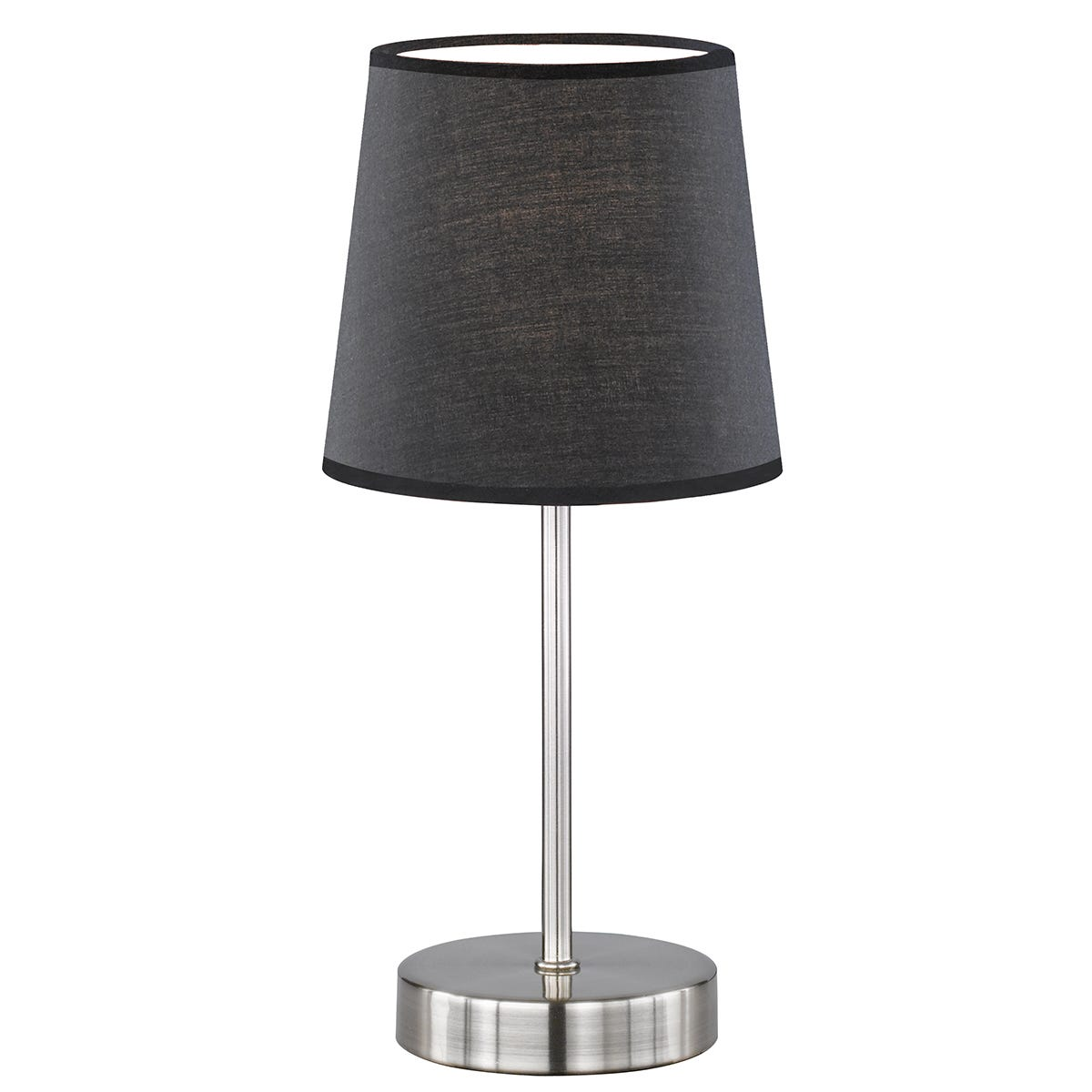 Action Cesena Table Lamp with Black Shade - Nickel Matt Finished