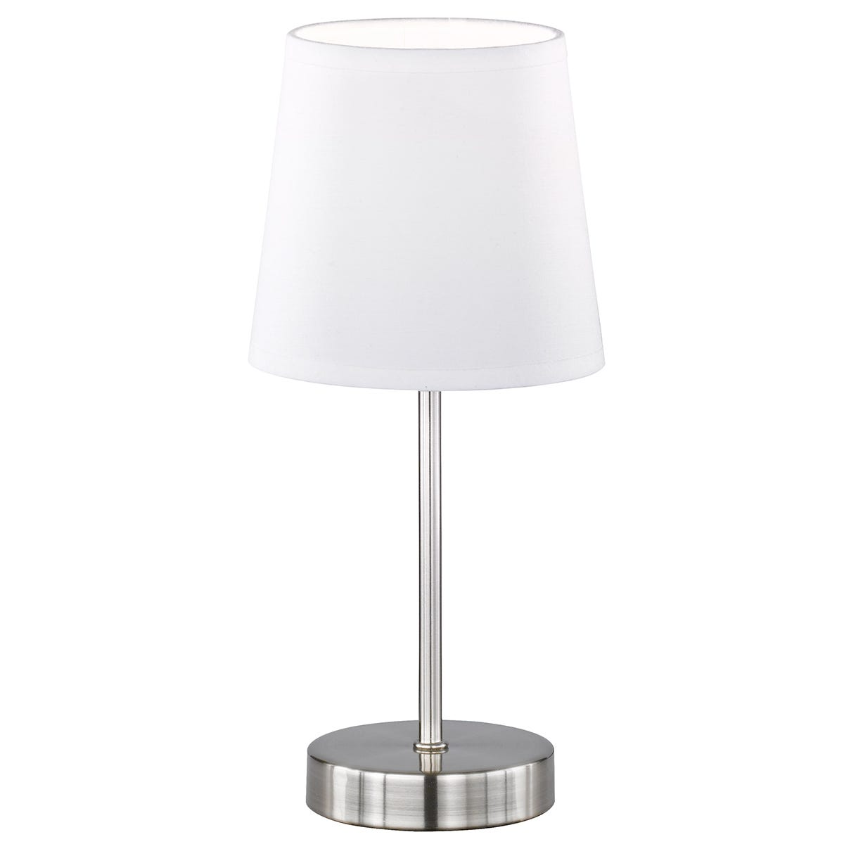 Action Cesena Table Lamp with White Shade - Nickel Matt Finished