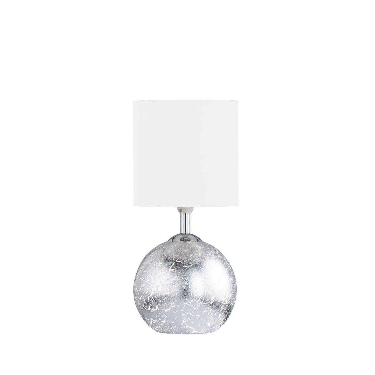 Wofi Carmen Table Lamp - Silver White Shade
