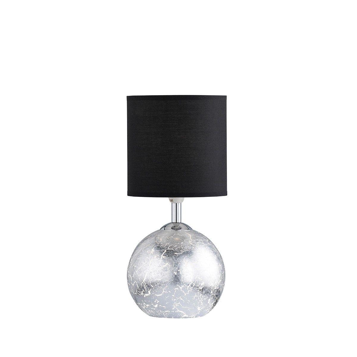Wofi Carmen Table Lamp - Silver Black Shade
